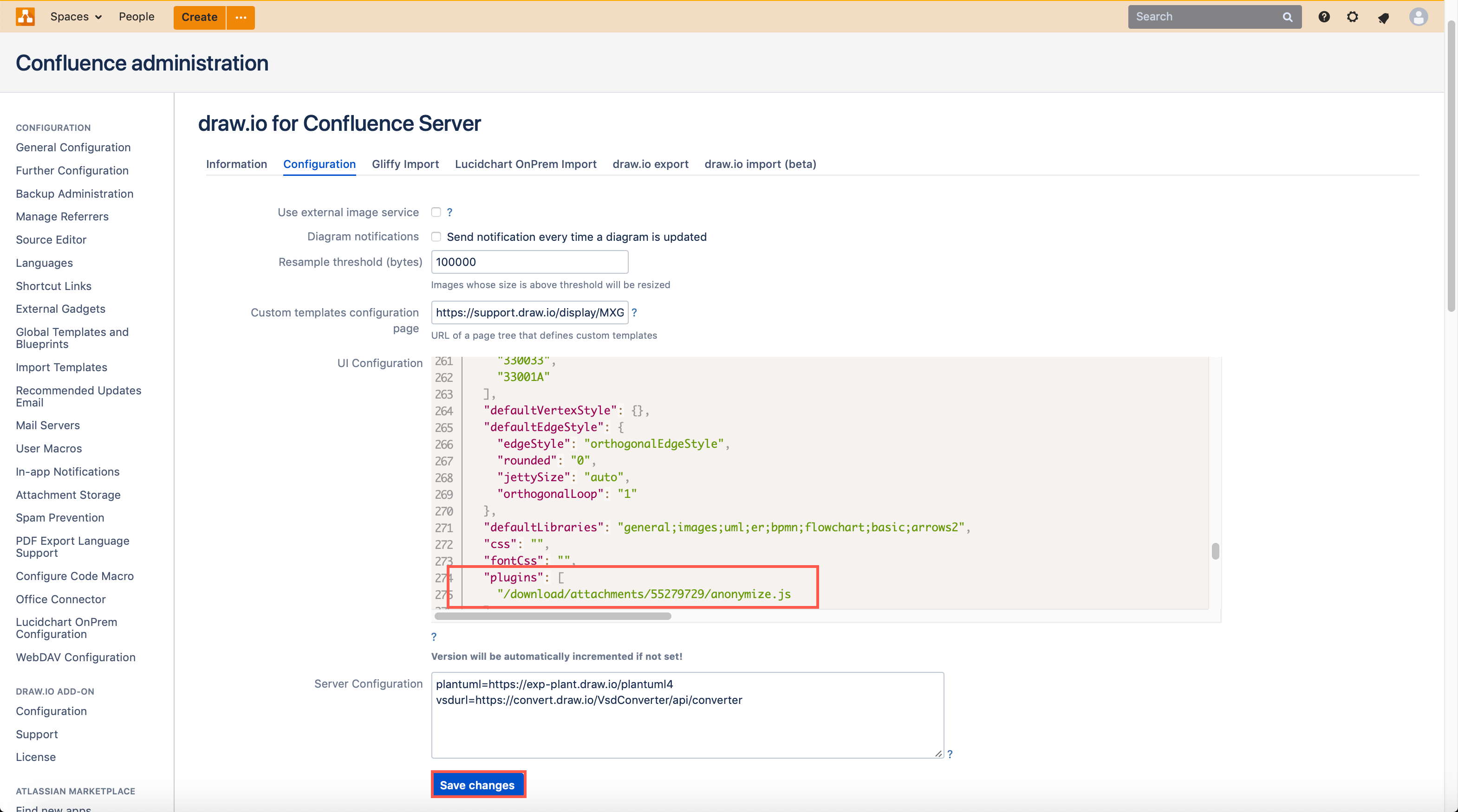 Add the anonymize plugin to draw.io in Confluence Cloud