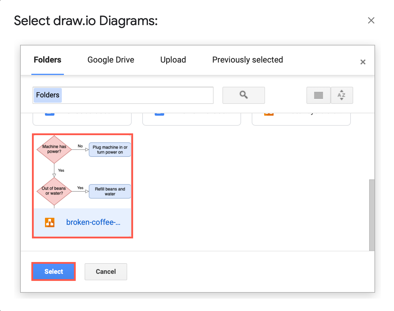 Select your diagram file from Google Drive to insert into your document