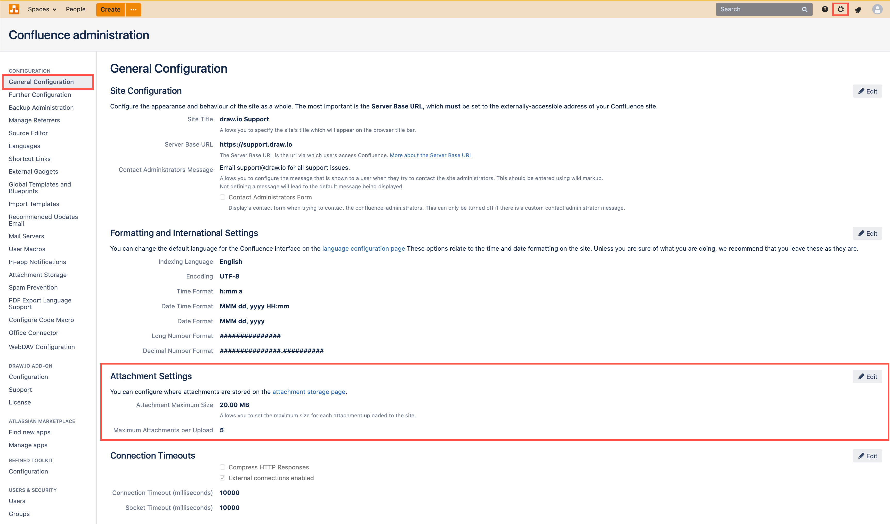 Confluence Server attachment settings in the General Configuration section of your Server settings