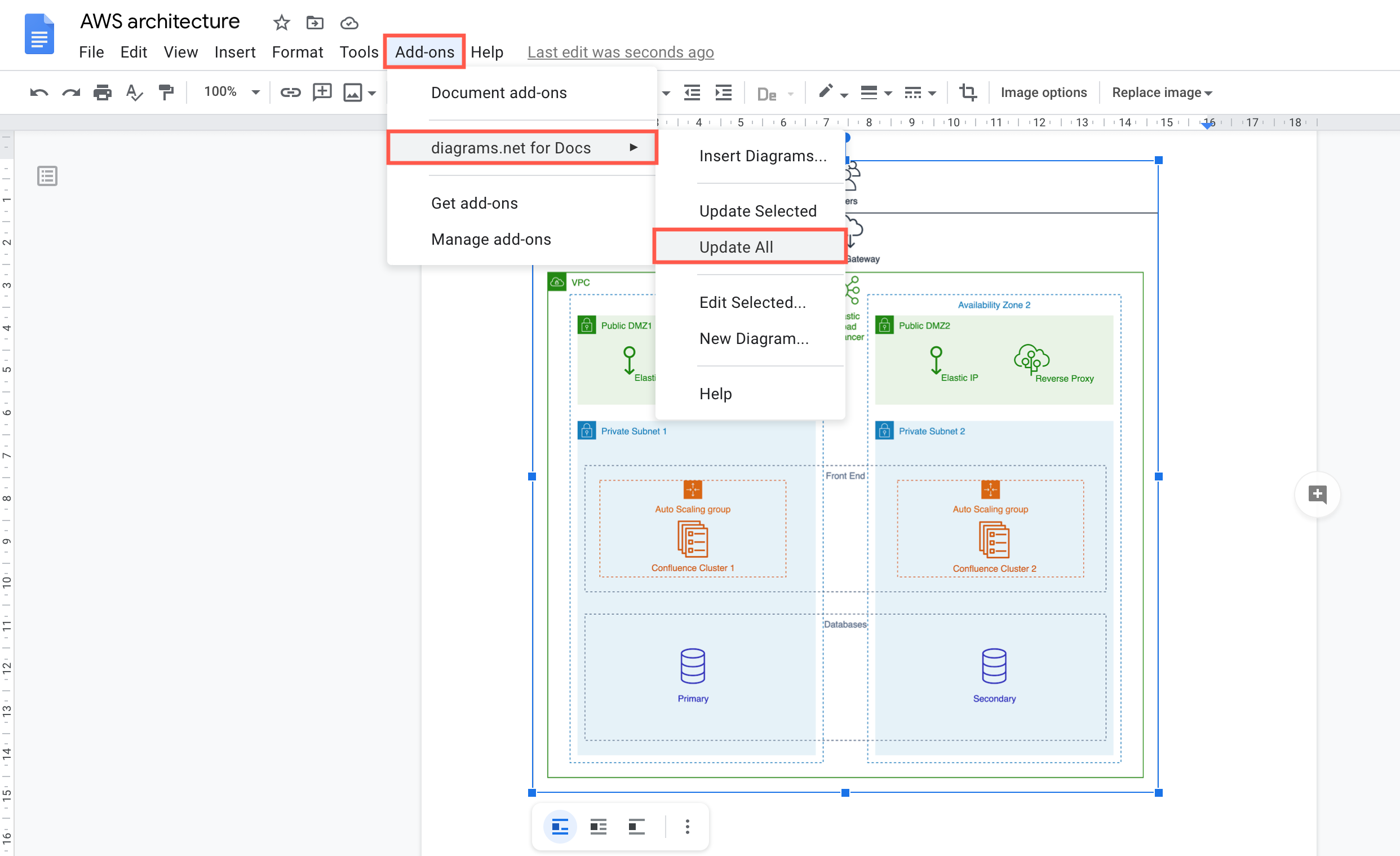 Embed your diagram in your system documentation in Google Docs