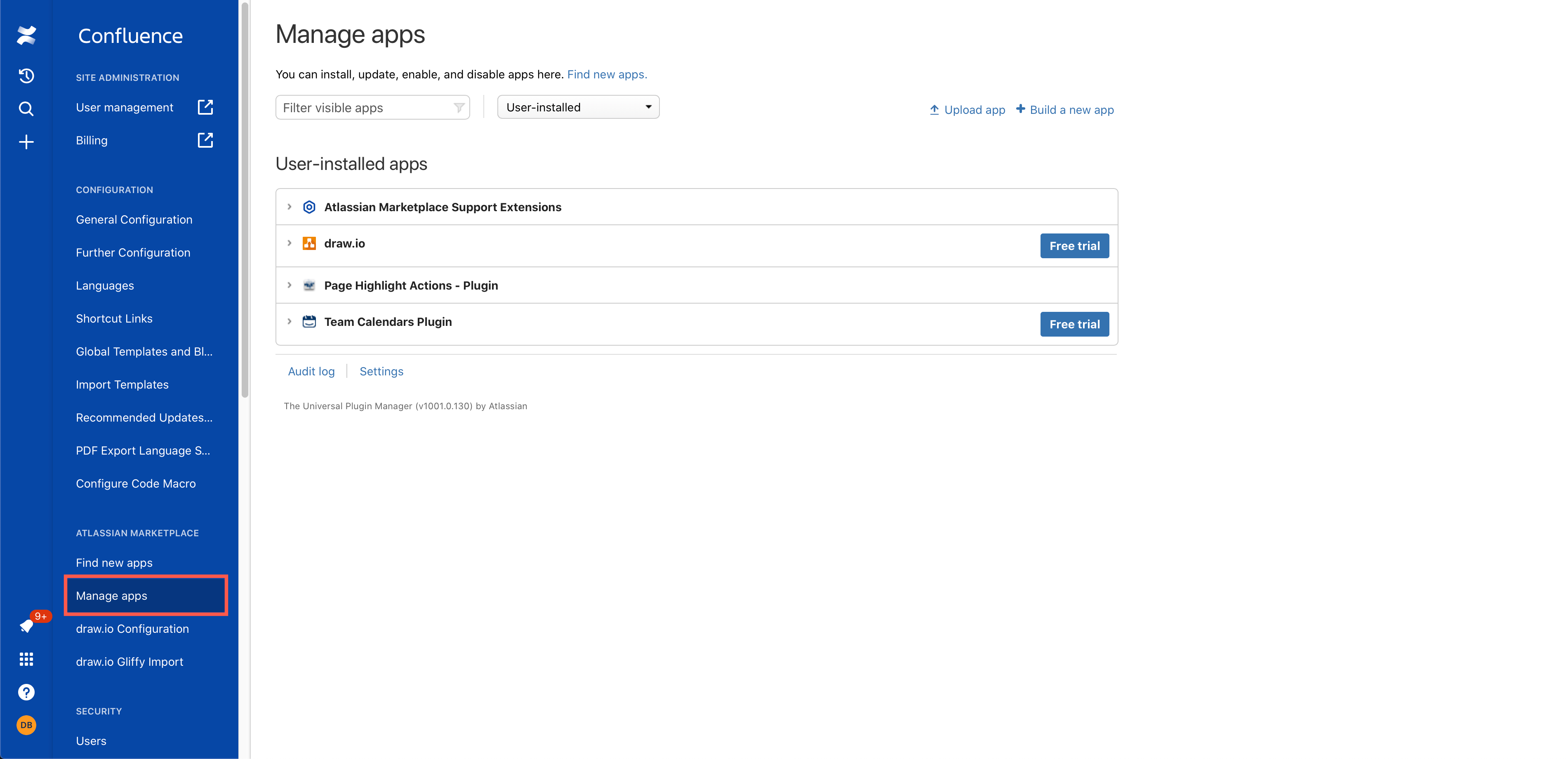 Manage the apps that are installed in your Confluence Cloud instance via Settings