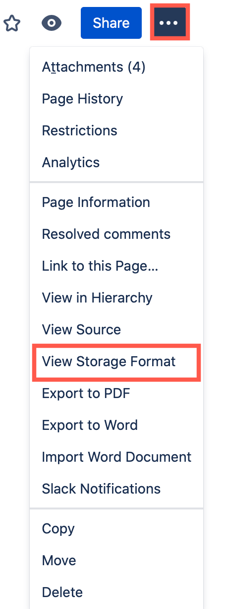 Click on ... > View Storage Format to see the source of a page in Confluence Cloud as an administrator
