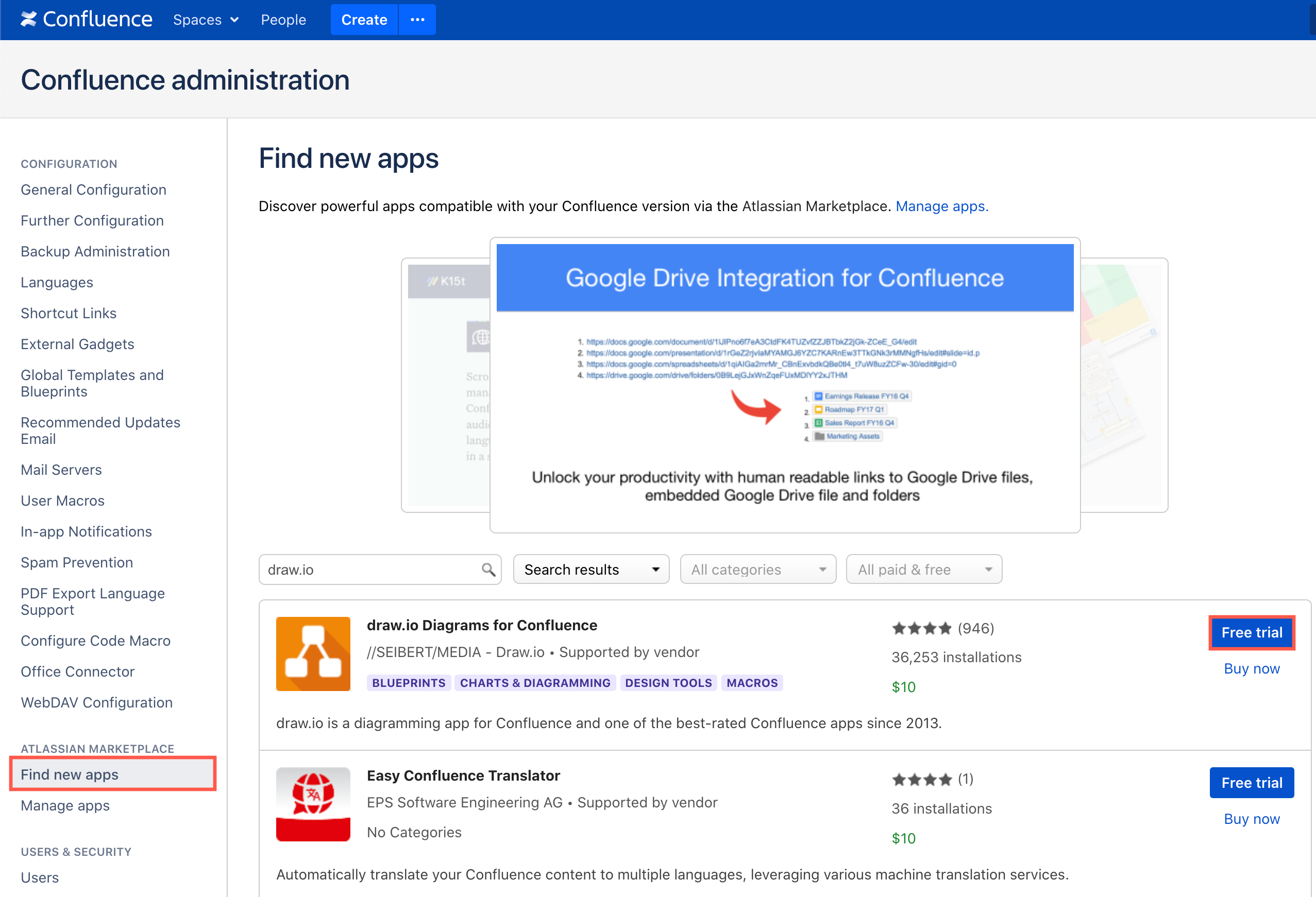 Get a trial draw.io license in Confluence Server