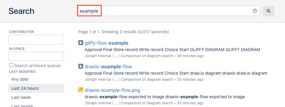 Search for a diagram filename in Confluence Server