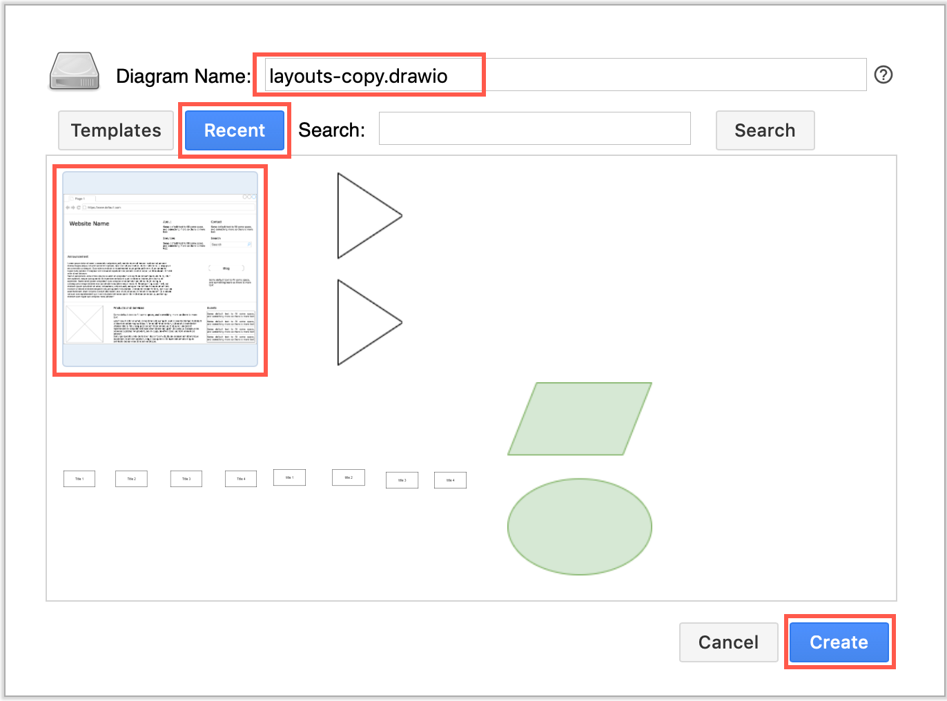 Select a diagram from the Recent tab, add a new diagram name and click Create to copy a draw.io diagram in Confluence Cloud