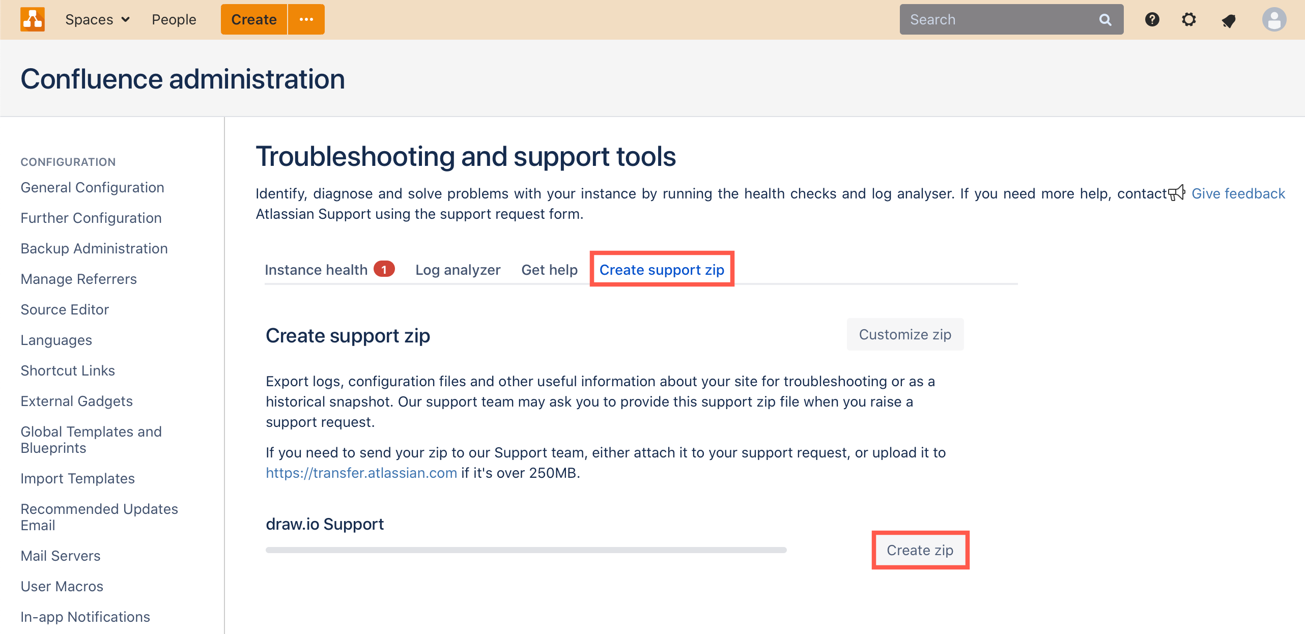 Create a draw.io support zip in Confluence Server