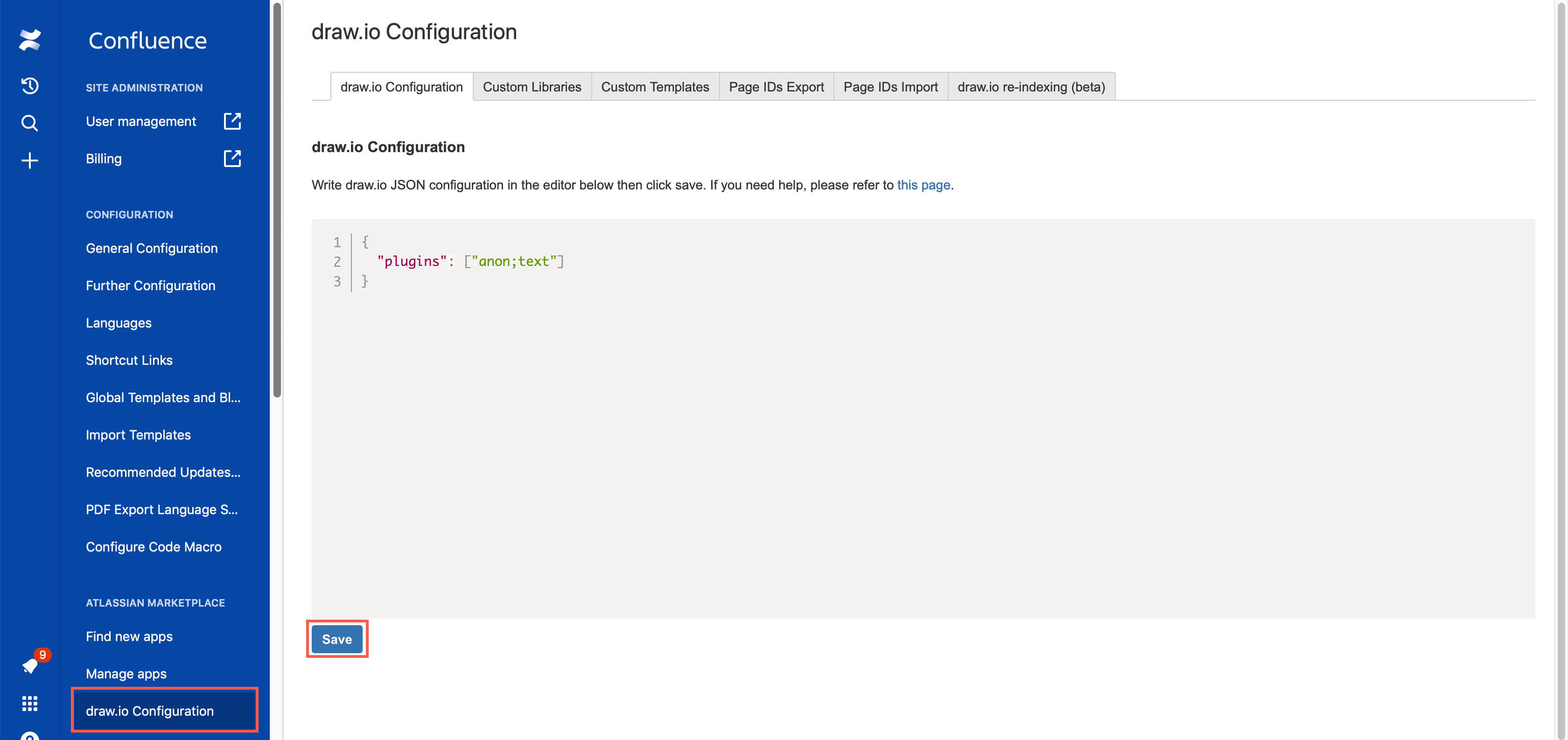 Add the list of plugins to the draw.io Configuration in your Confluence Settings