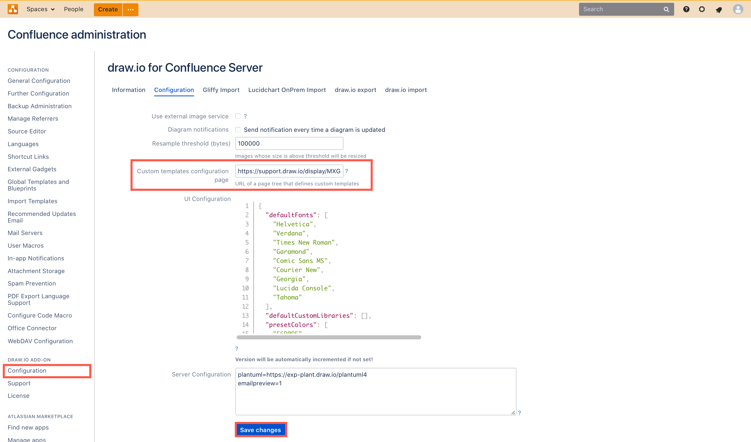 Add the custom templates parent page's URL to the draw.io configuration in the Confluence administration