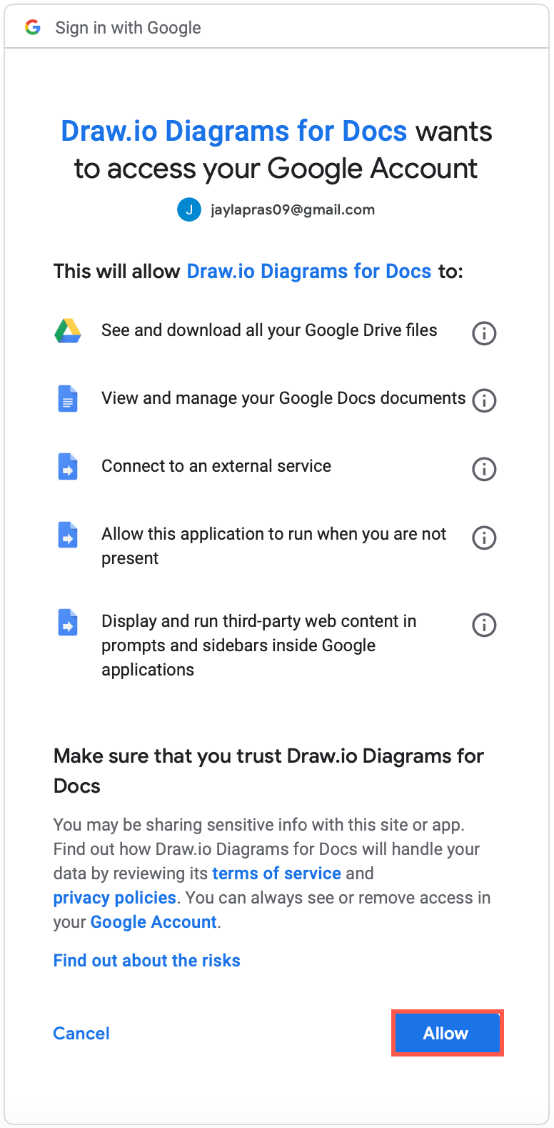Grant permission for diagrams.net to access your Google Drive files and Google Docs