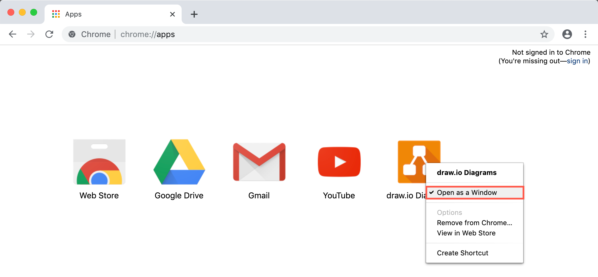 Make the draw.io Chrome app run without the Chrome search field