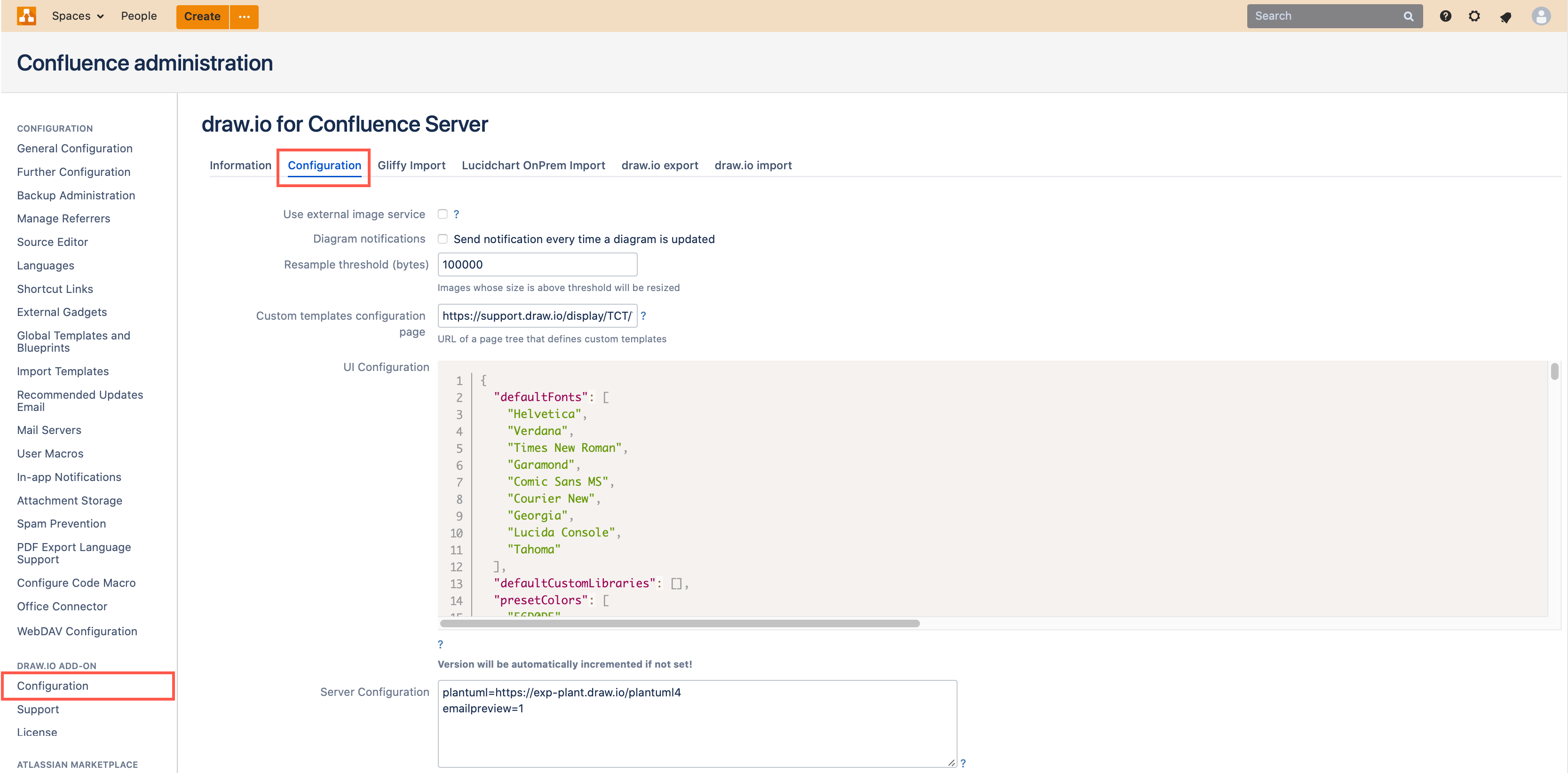 draw.io Configuration in Confluence Server