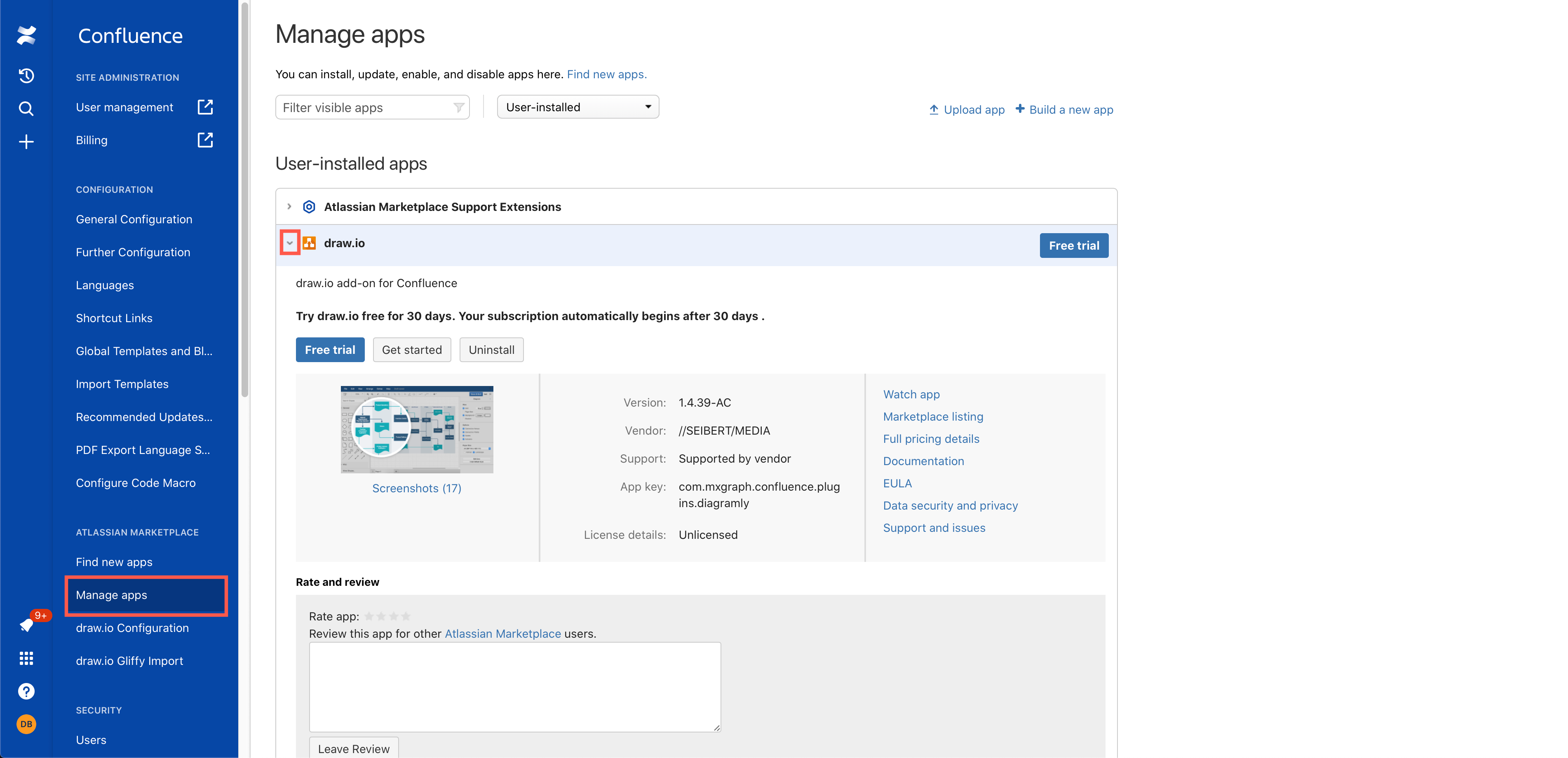 Manage the draw.io app in the Confluence Cloud Settings as an administrator