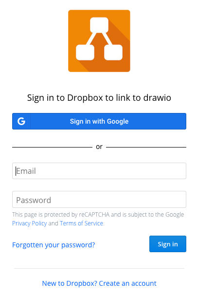 Sign into your Dropbox to authorise diagrams.net to use it as a storage location