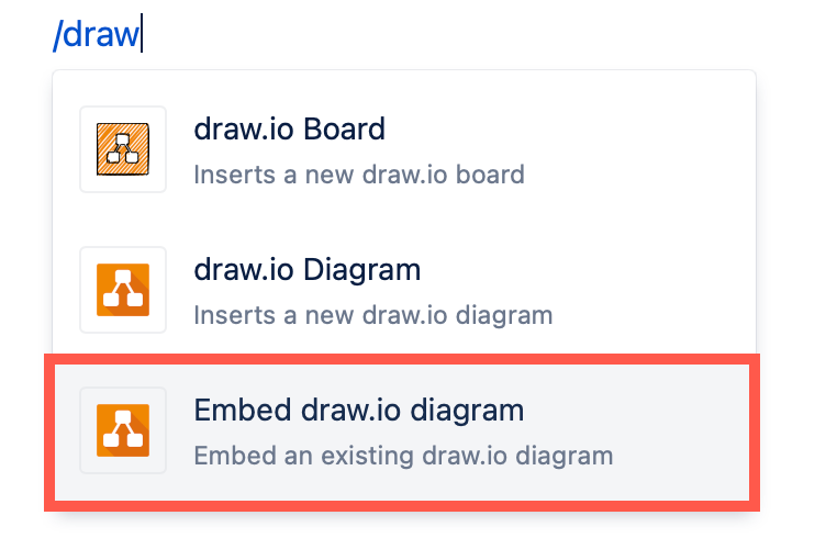Add the _Embed draw.io diagram_ macro to a Confluence Cloud page