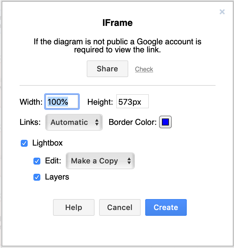 Generate a HTML code version of your diagram containing an iFrame