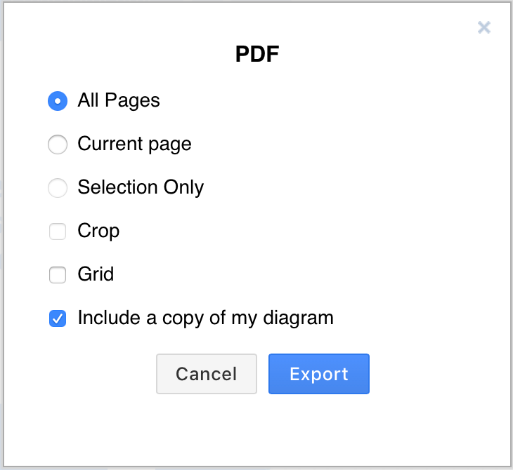 Change the export settings when exporting to a PDF