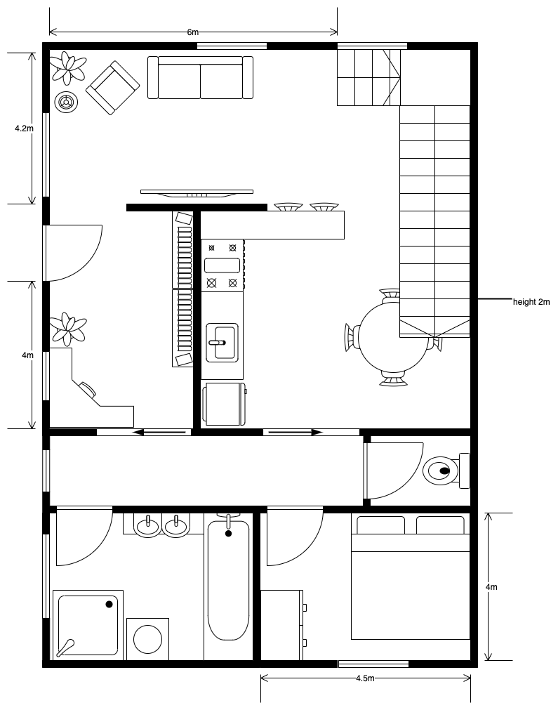A ground floor apartment floorplan created in diagrams.net