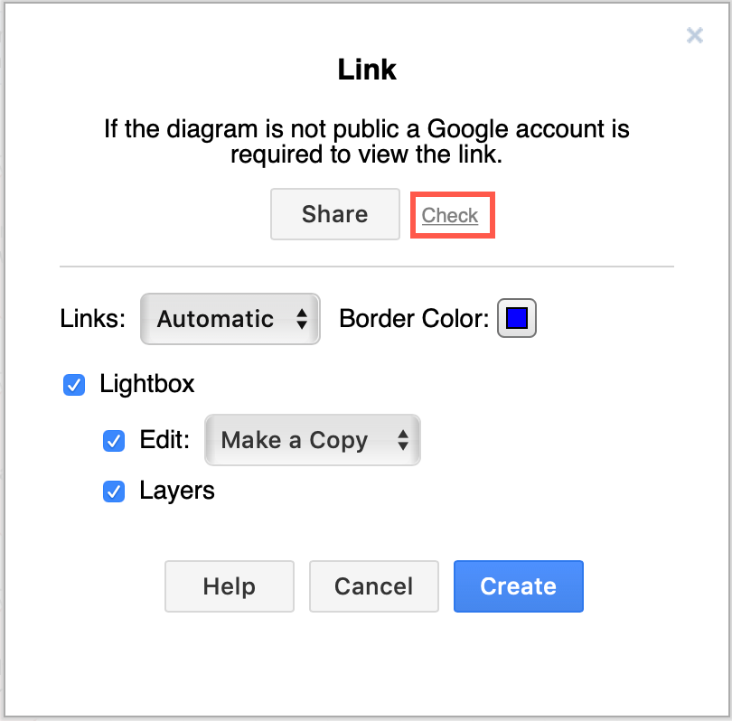 Change the sharing permissions to public so you can publish a link to the diagram file stored on Google Drive