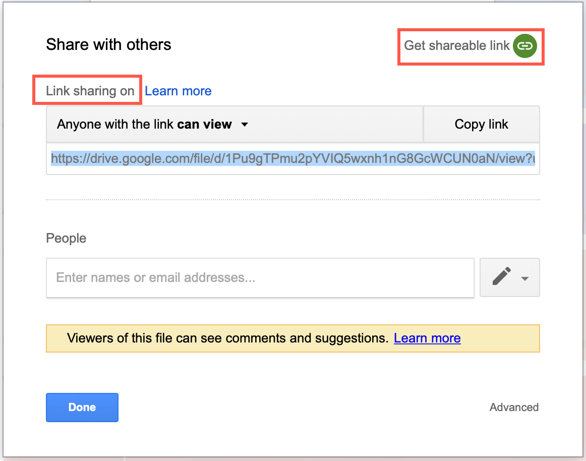 Get a shareable link for your diagram stored on Google Drive