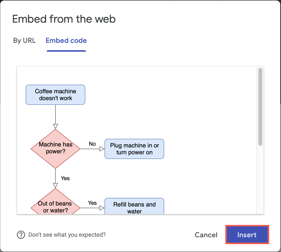 Check the preview and insert the diagram into your Google Site