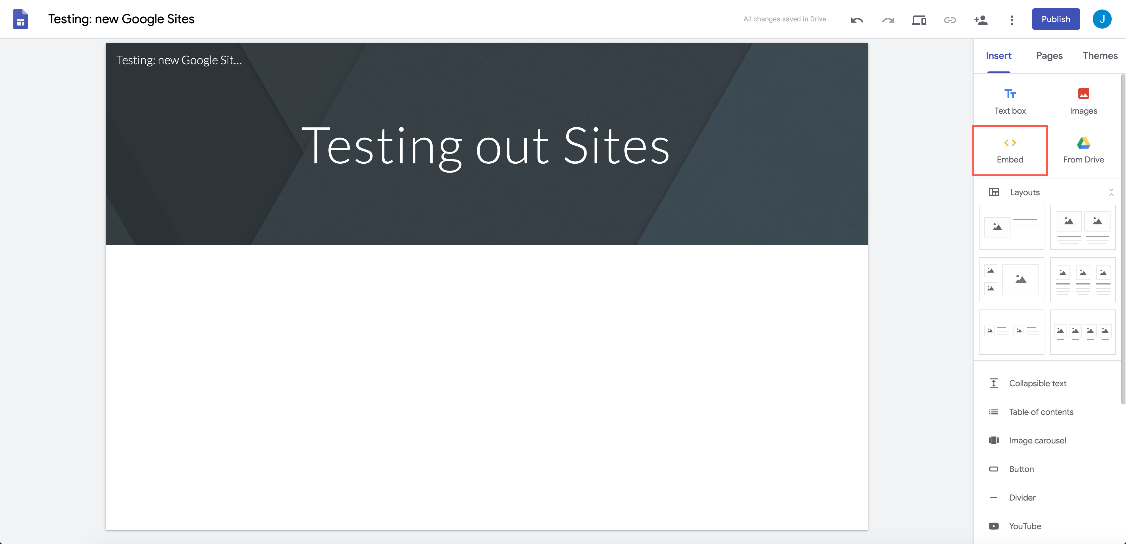 Click on the Google Sites embed tool