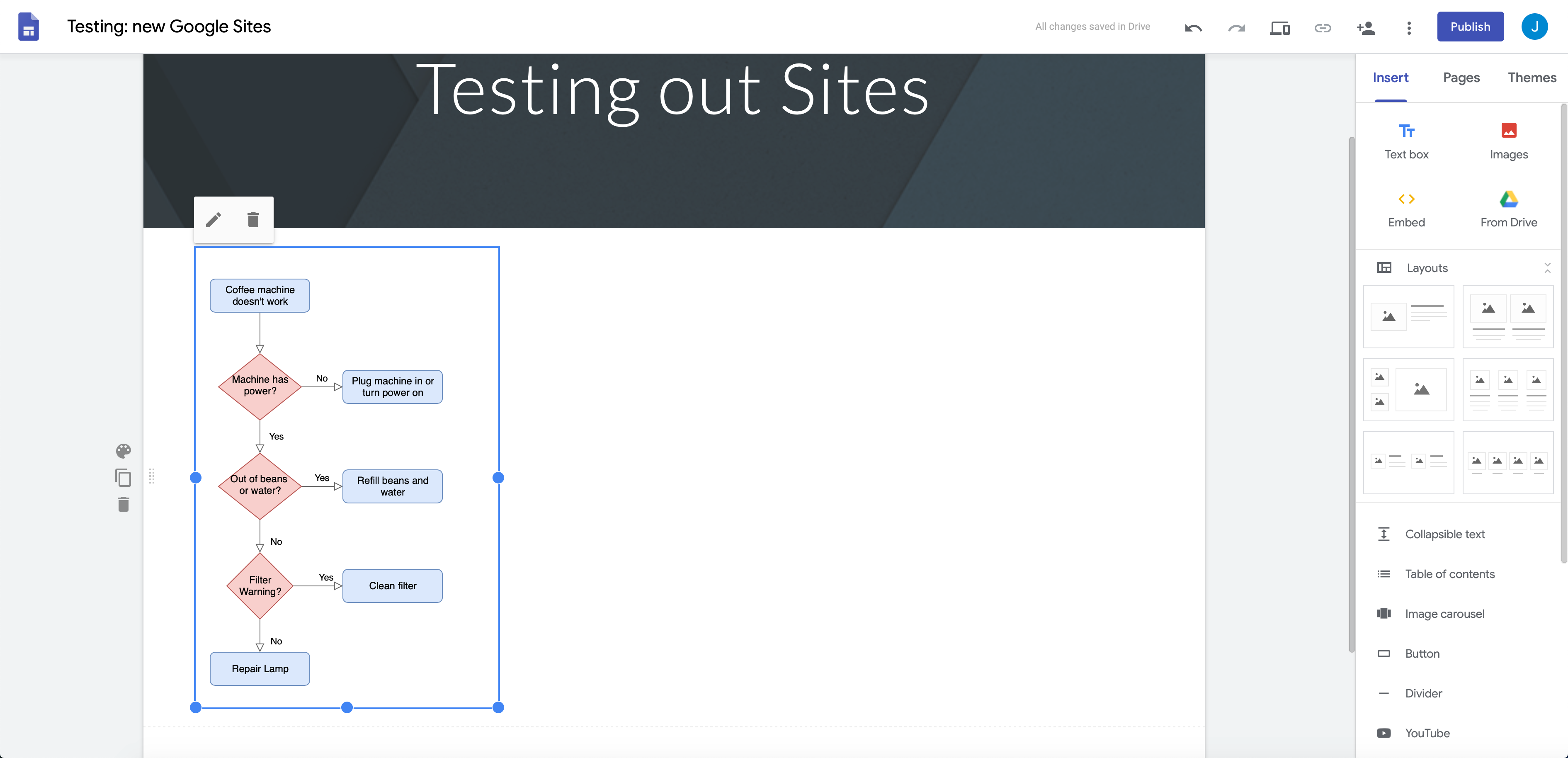Work with an embedded diagram in Google Sites just like an image