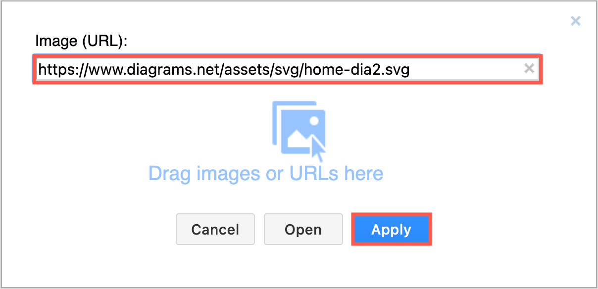 Paste the URL to your image file, or drag it onto the dialog and click Apply to add an image to your diagram