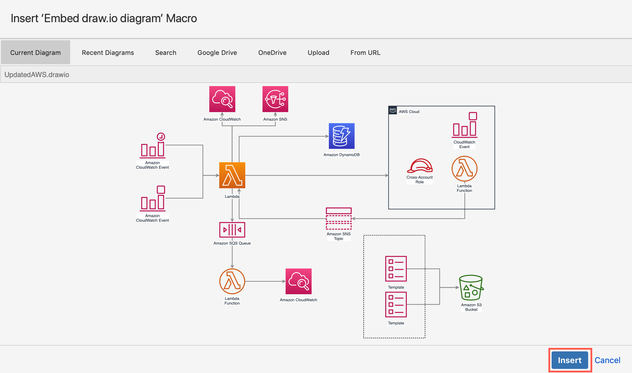 Click Insert to embed the diagram file from your Google Drive into your Confluence Cloud page