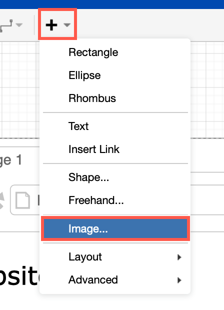 Insert an image into a draw.io diagram on Confluence Server from the diagram editor