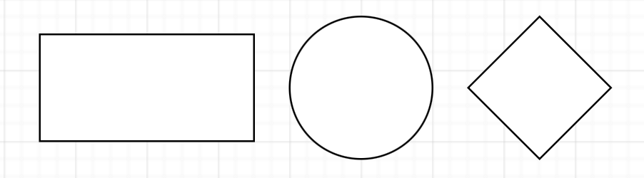 You can insert rectangle, ellipse, and rhombus shapes via the Arrange > Insert menu in diagrams.net