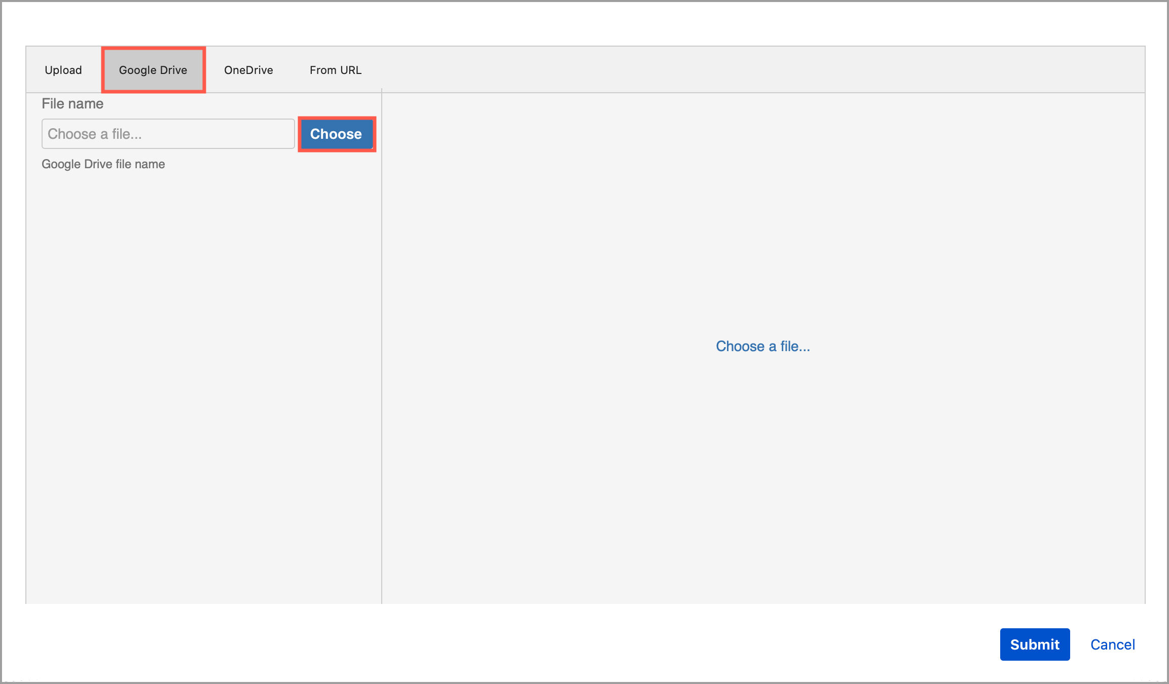 Click Choose to look for the .drawio diagram file in your Google Drive