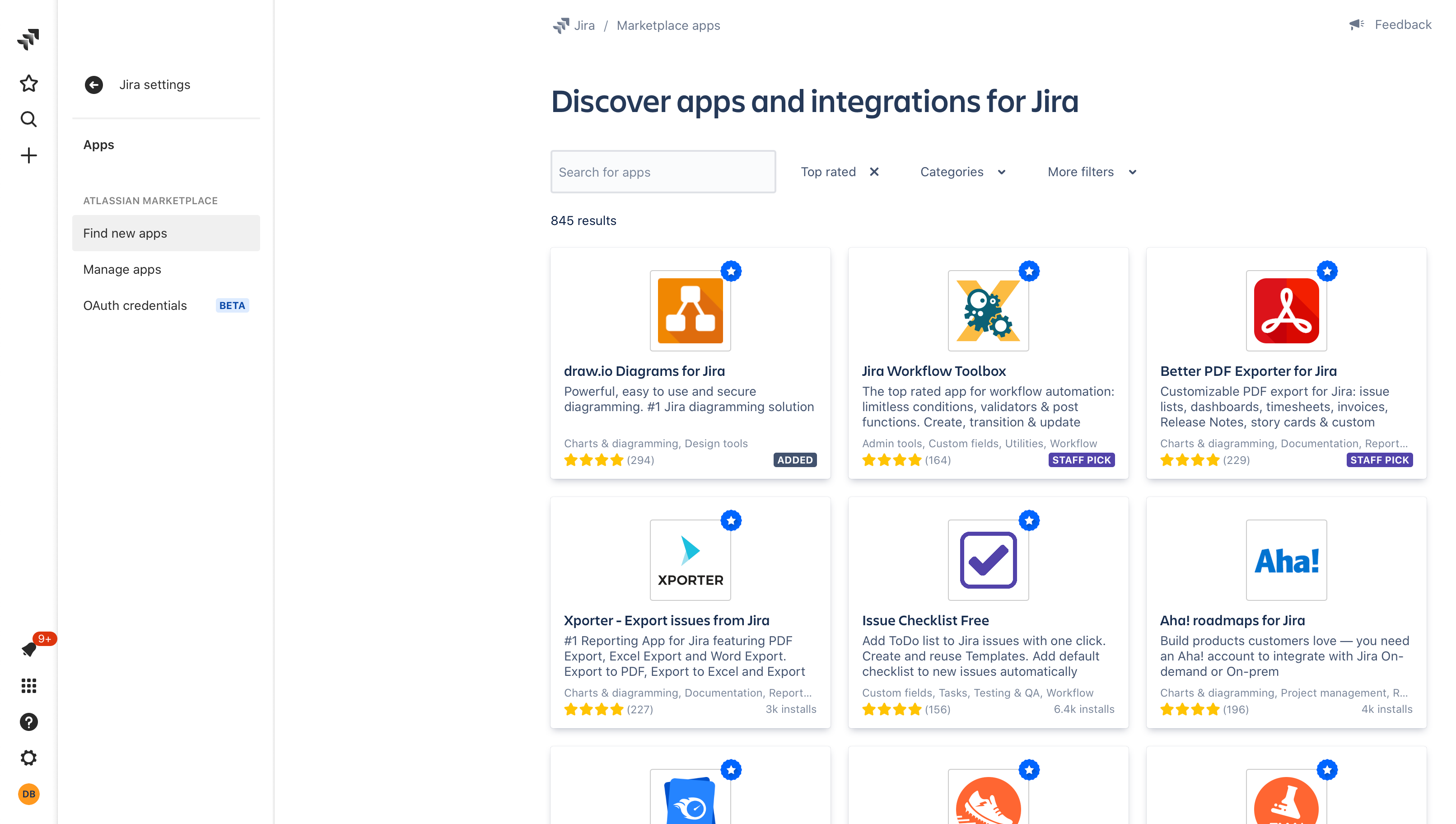 Find new apps for your Jira Cloud instance via the Settings