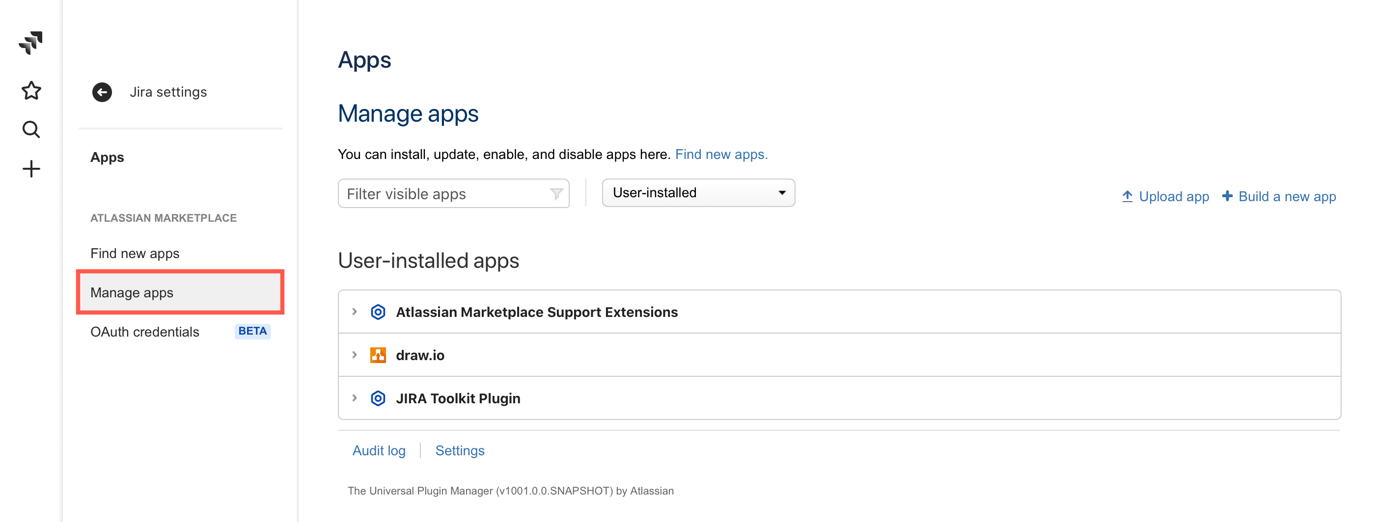 Manage the existing apps in your Jira Cloud instance via the Settings