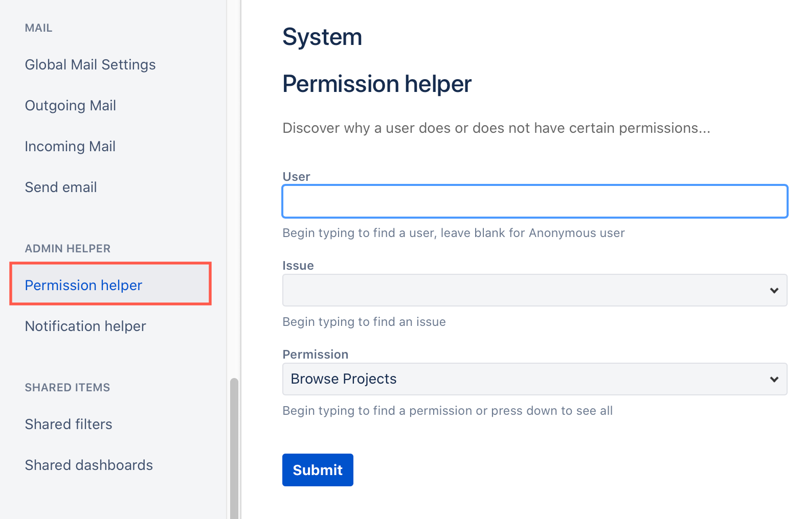Use the Jira Cloud permission helper to see why a user has a problem creating or updating a draw.io diagram