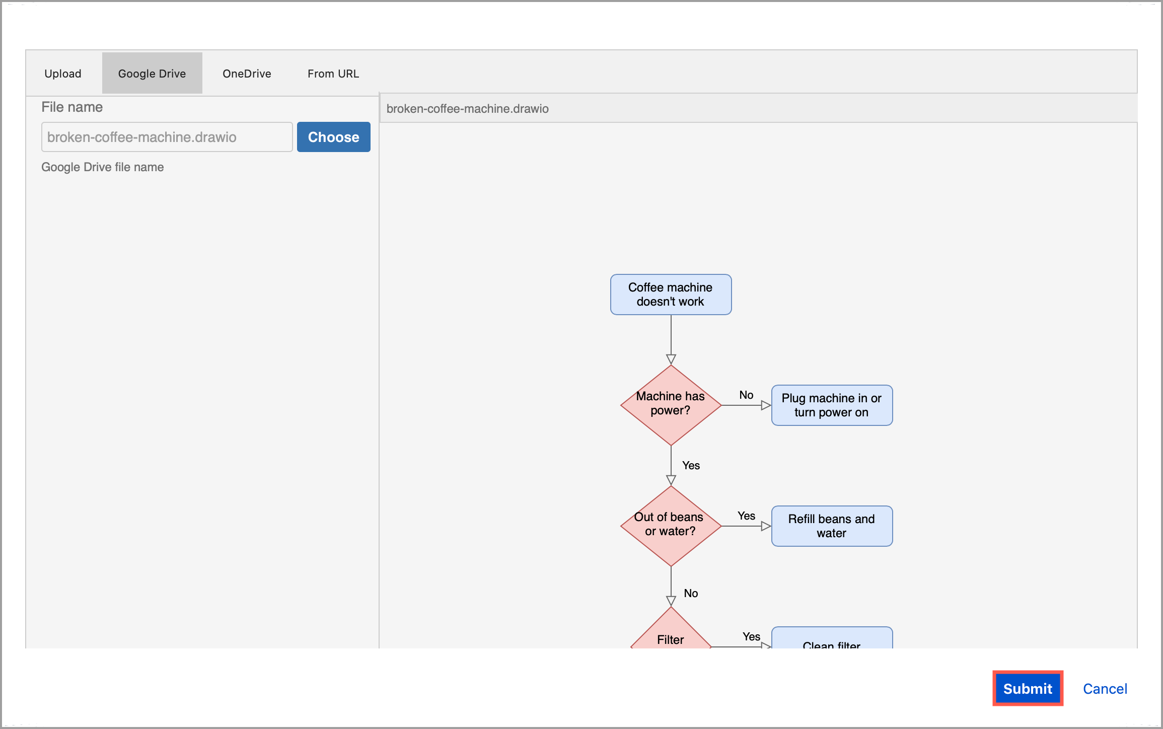 Check the preview of your .drawio diagram file on Google Drive