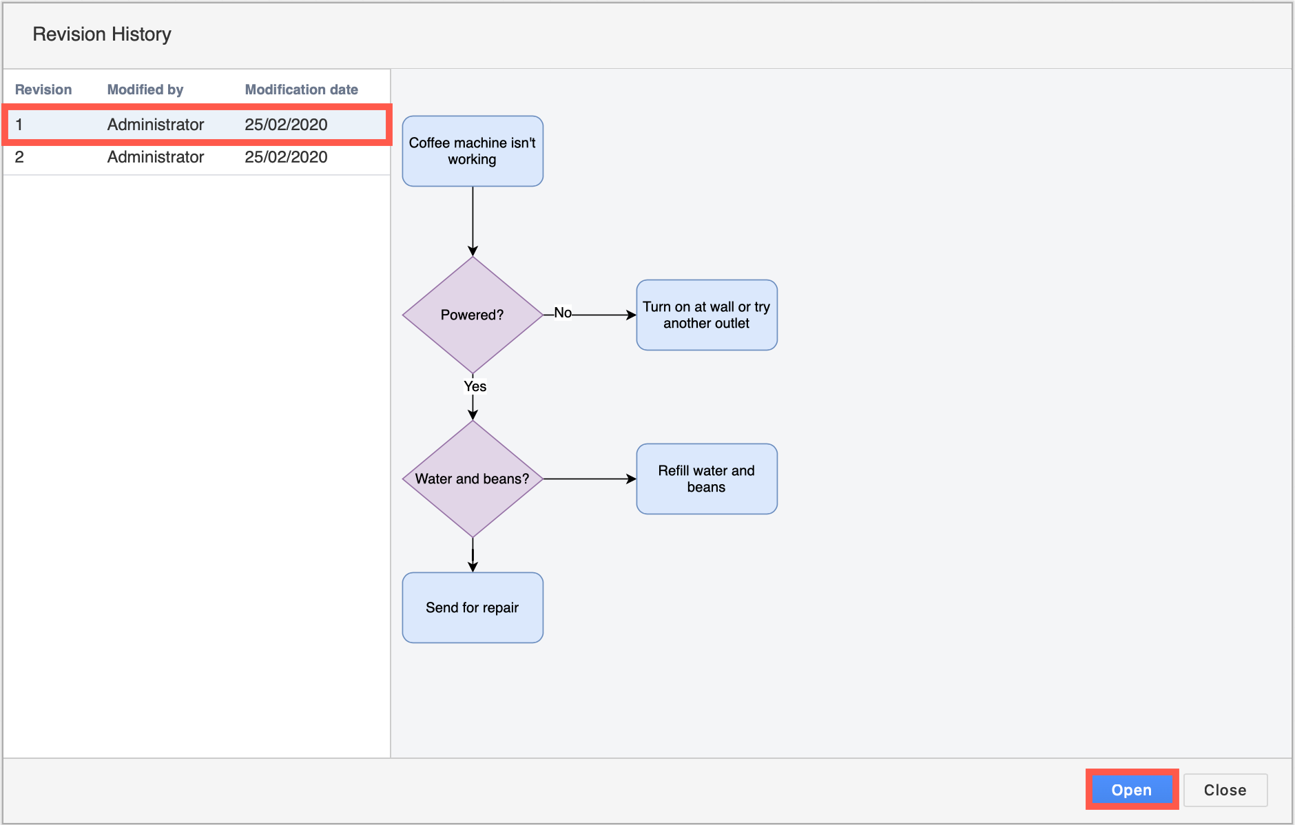 Restoring an older version of your draw.io diagram in Jira Server creates a new version - no information is lost