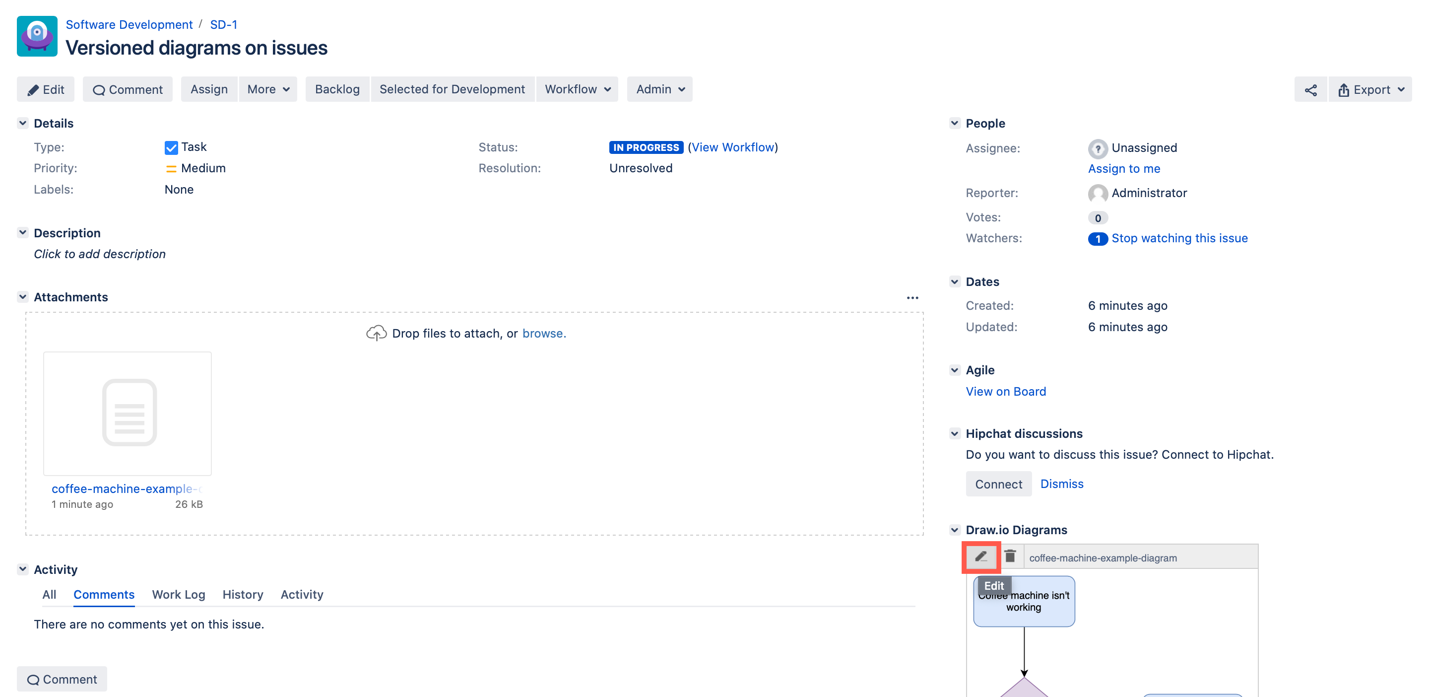 Edit an existing draw.io diagram attached to a Jira Server issue