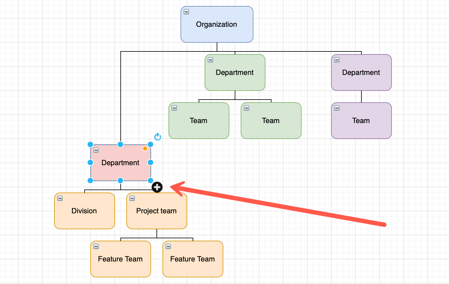 Move an entire branch in your org chart in diagrams.net
