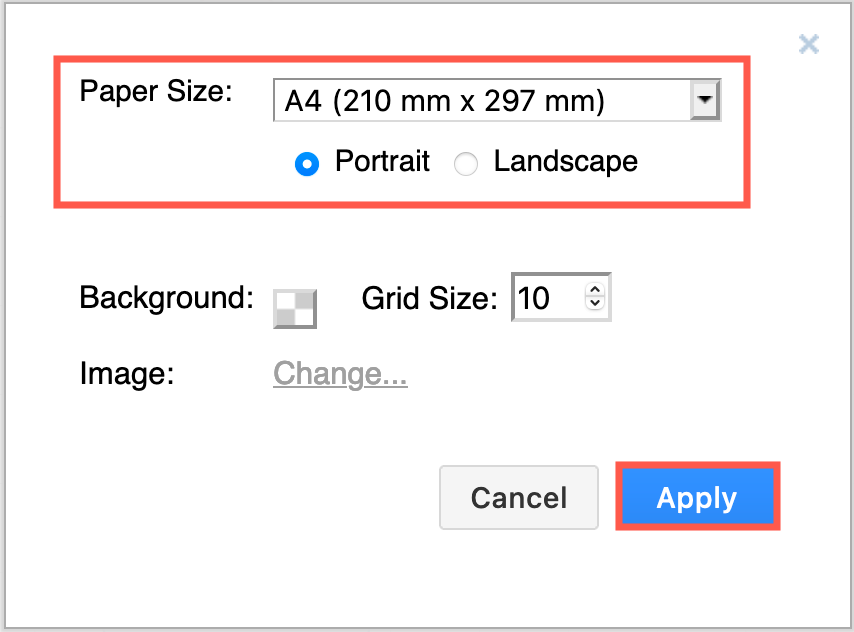Change the paper size and orientation via the diagram's page setup