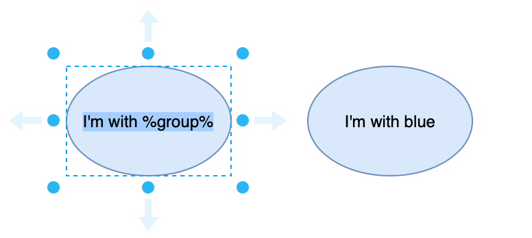 Add a placeholder to a shape label, for example %group%