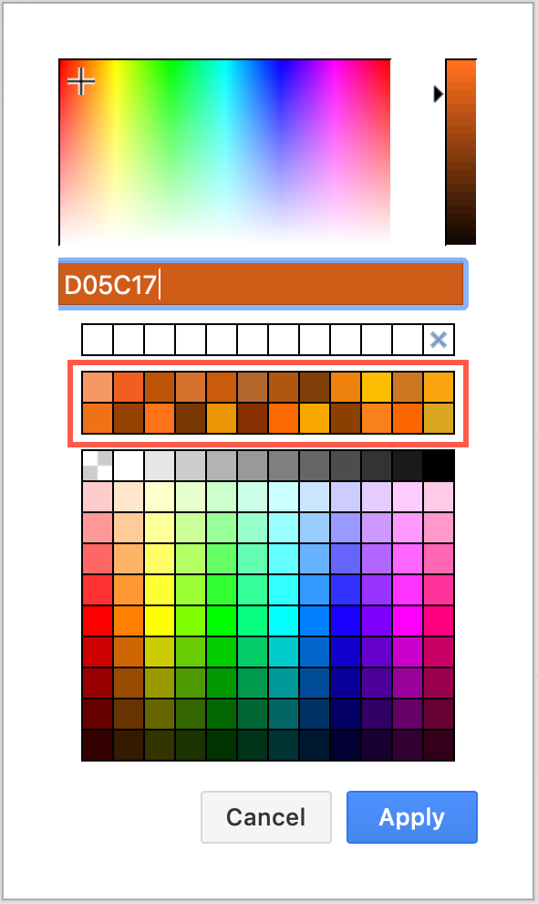 The default present colours can be customised in draw.io