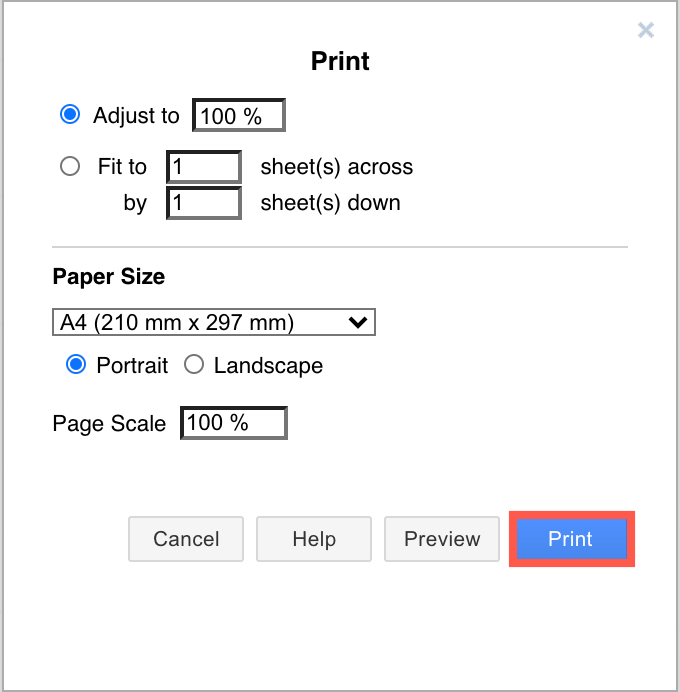 Print to a PDF file from the print dialog in diagrams.net