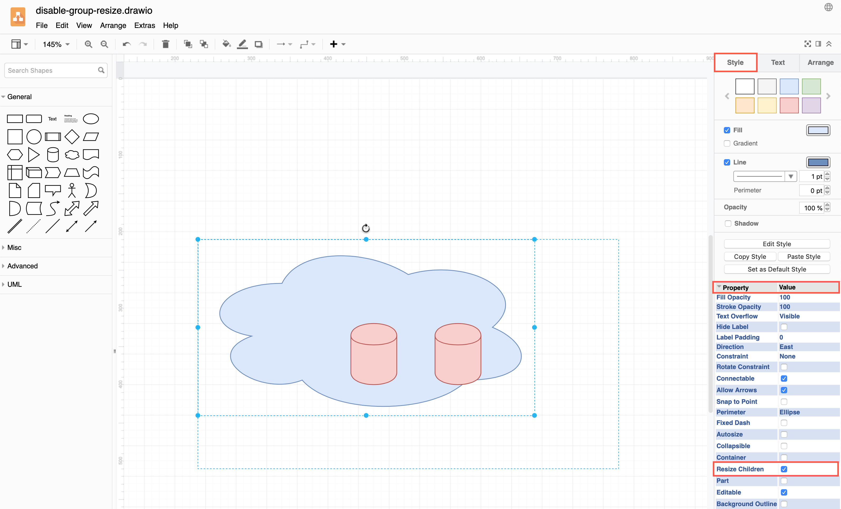 Disable Resize Children in the shape properties to resize grouped shapes individually