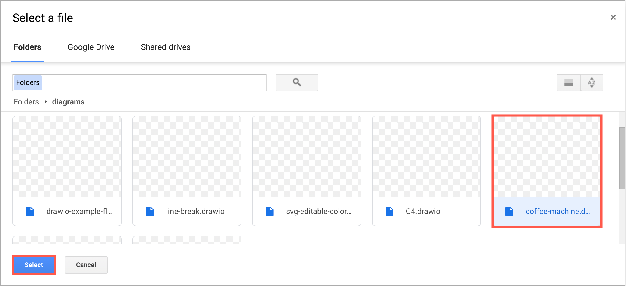 Select the draw.io diagram file in your Google Drive