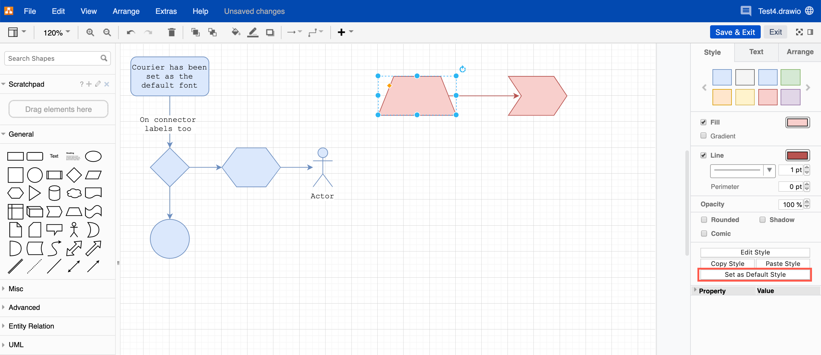Set a new personal default style for shapes and connectors in draw.io for Confluence Cloud