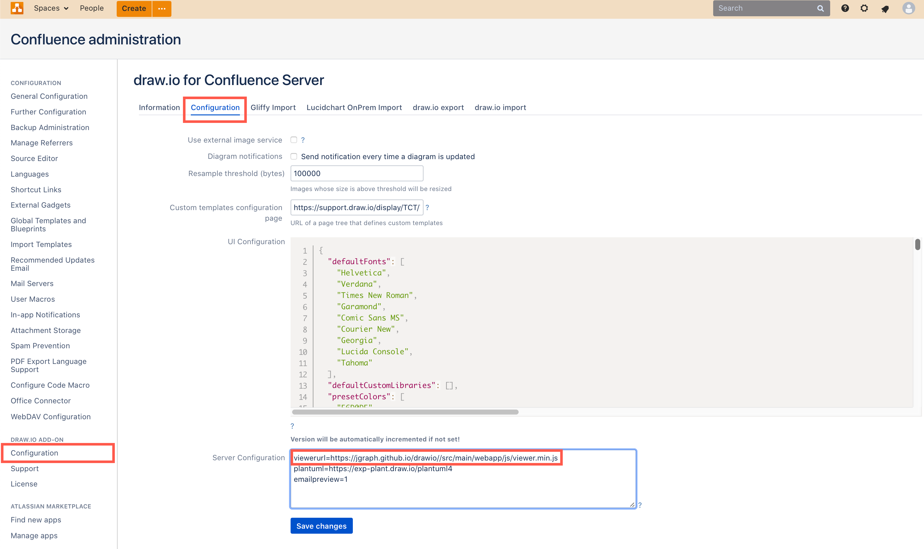 Add the URL to your self-hosted JavaScript viewer script to the draw.io Server Configuration field