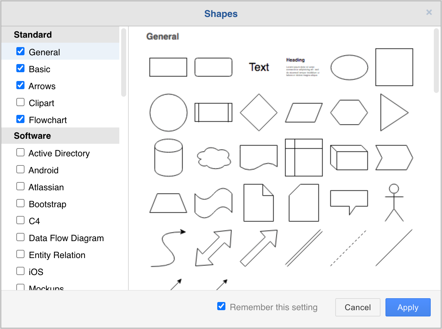 Select the shape libraries you want to work with in diagrams.net