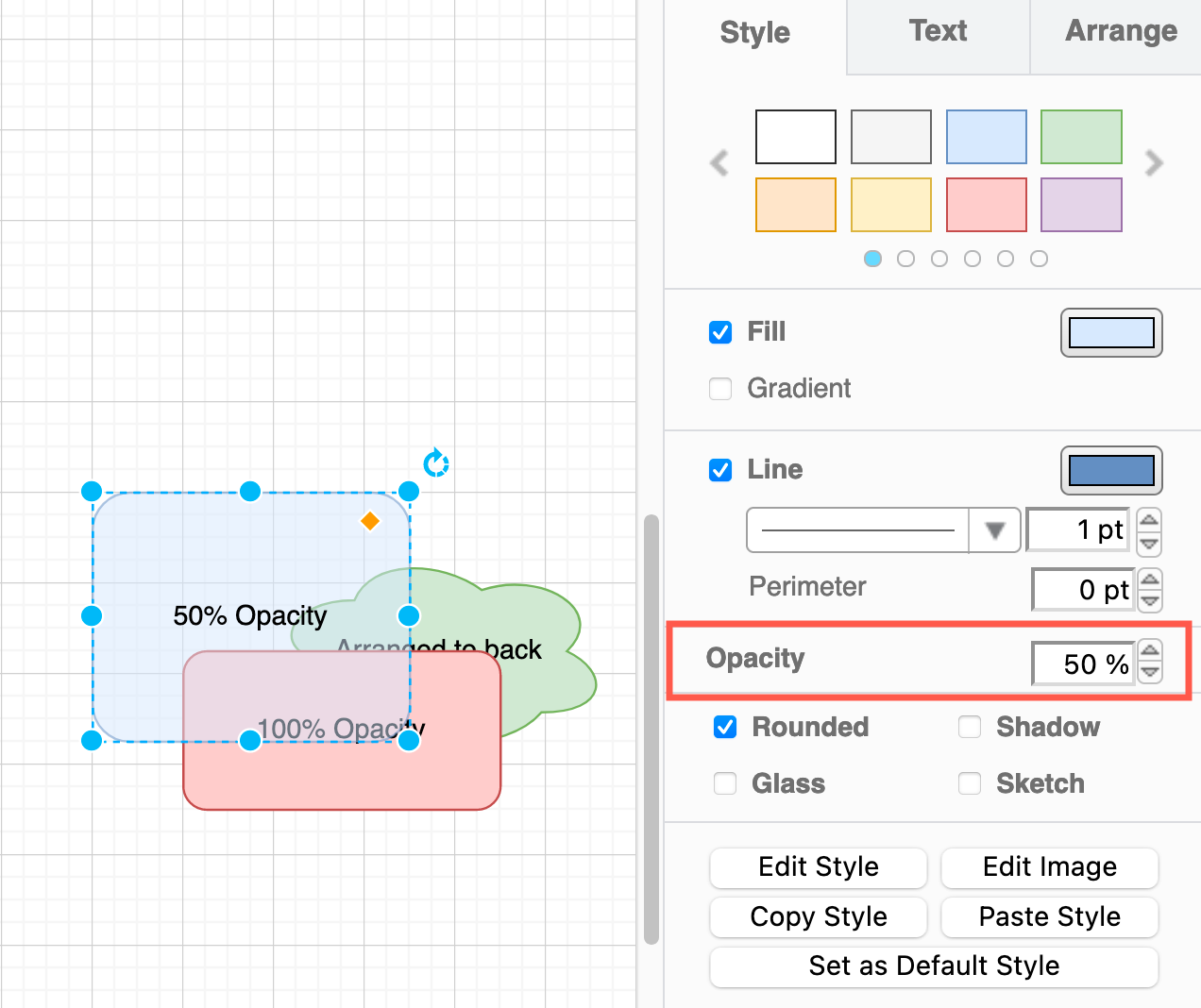 Set a new value for Opacity to make a shape more transparent and let shapes underneath show through