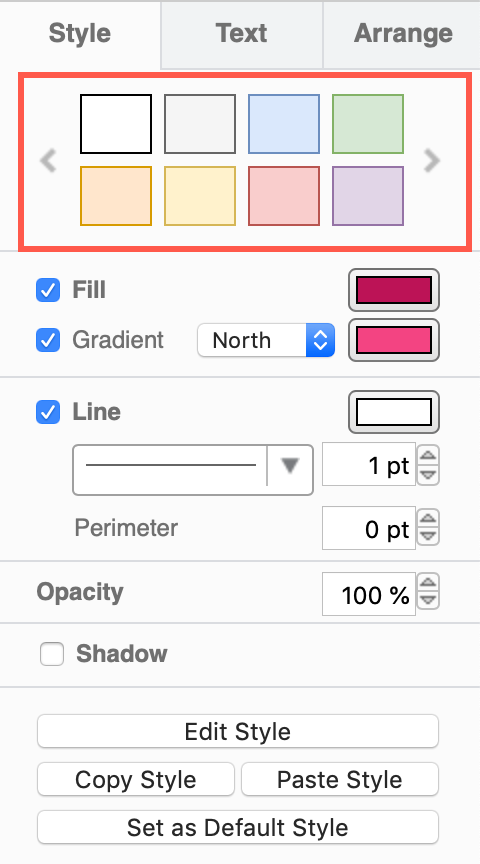 The default colour schemes in draw.io modify the style colour palette