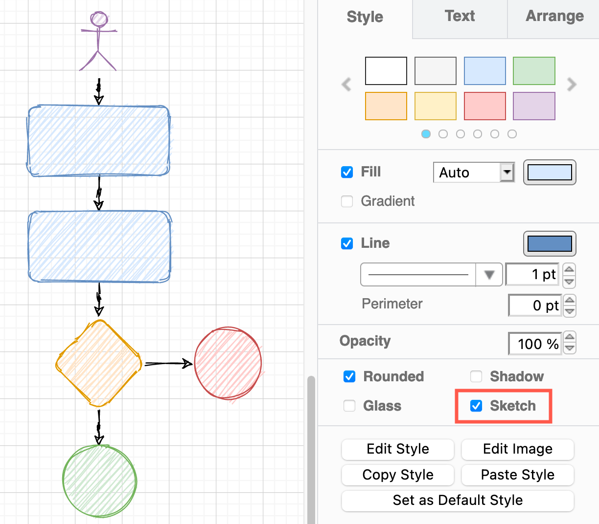 Click the Sketch checkbox to make the selected shapes and connectors appear roughly hand drawn
